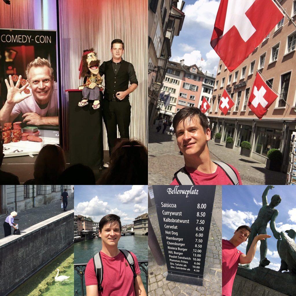 Bauchredner Tim Becker präsentiert Bauchrednerpuppe in der Schweiz